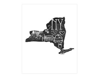 New York State Print // 1canoe2 // Modern Art Print