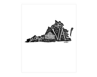 Virginia State Print // 1canoe2 // Modern Art Print