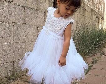 Pure White flower girl dress First Communion Dress Holy Communion Dress Baptism Dress