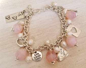 Silver and pink heart charm bracelet | heart jewelry | I heart you | love charm bracelet | valentines day gift for her | boho jewelry