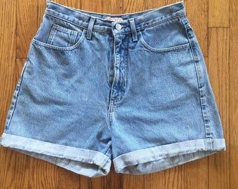 Vintage 90s GUESS Light Blue High Waist Denim Cuff Shorts - 31 inch waist