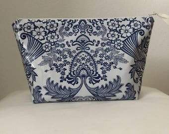 Beth's Blue Paradise Oilcloth Cosmetic Bag with exposed zipper closure