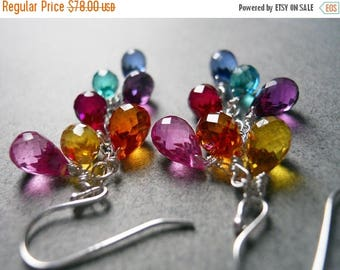 20% off FLASH SALE, Rainbow earrings, Multi color quartz teardrop earrings, Goody Goody Gumdrops, gemstone earring, SEE Video, multicolor ea
