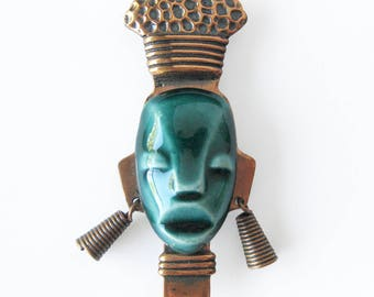 Elzac of Hollywood Jade Green Ceramic and Copper Brooch / Tribal Mask Brooch / Warrior Face Brooch / Forties  Jewelry