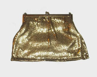 1950s purse / vintage 50s handbag / Whiting & Davis / Gold Nugget Chainmail Evening Purse