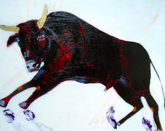 EMERY original painting 'this bull runs on its own' animal rights outsider art expressionism folk