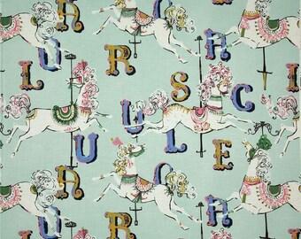 Dear Stella Carousel Horses Aqua Color ~ Dear Stella Quilt Cotton Fabric