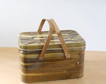 Vintage Tin Picnic Basket • Faux Bois Metal Tin • Wood Grain Brown Yellow