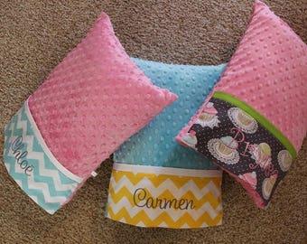 Minky Travel Pillows - Adult Travel Pillow - Childs Travel Pillow - Personalized Travel Pillow - Minky Toddler Pillow - Minky Pillow