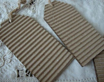 kraft tags rustic gift wrap Christmas party favors DIY craft supplies Corrugated paper with wood backing Christmas labels gift tags