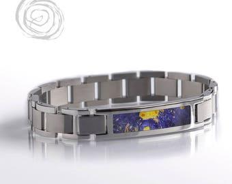 Blue Box Elder Burl Bracelet, Wood Inlay Interchangeable Bracelet Set, Blue Wood Jewelry