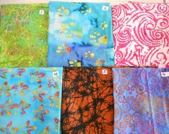 "More new BATIKS 100% cotton fabric India swirls paws floral 1 yd x 44"" FREE SHIP"