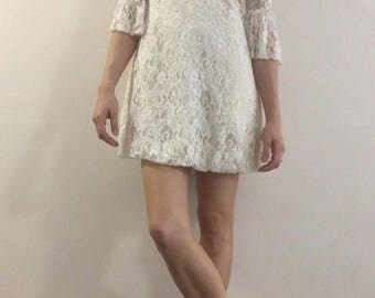 Cream Lace Dress with Bell Sleeves XS / S