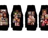 8 neoprene koozies with approved custom images, 4 standard cans and 4 zipper bottles