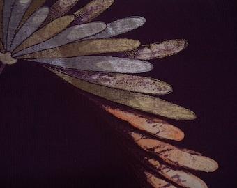 Vintage kimono S756, purple silk, houmongi
