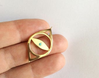 1pc-  Gold Plated Matte bead  Evil Eye Connector-35x15mm-(007-053)