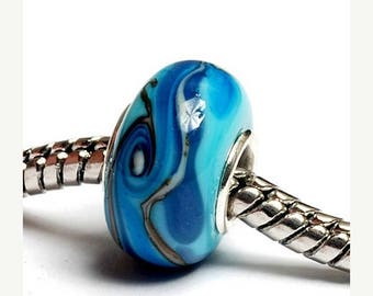 ON SALE 35% OFF Glass Lampwork Beads  - Large Hole Turquoise/Light Blue Twist Rondelle Bead - Sc10047