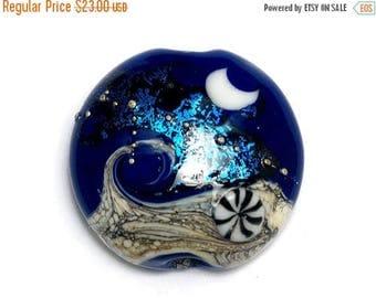 ON SALE 30% off Cobalt Celestial Lentil Focal Bead - Dichroic - Handmade Glass Lampwork Bead 11832702