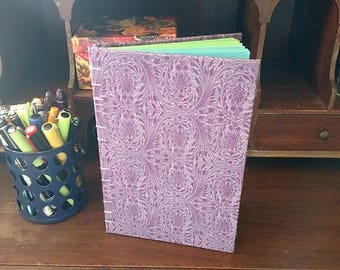 Purple Blank Journal Notebook Color Pages Coptic Stitch Mermaid or Peacock Book 140 pages