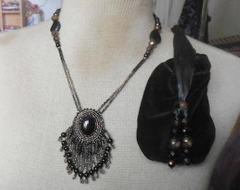 Onyx Bloodstone Necklace with Beaded Black Jasper Tassels Onyx Semiprecious Stone Gemstone Beads OlyTeam