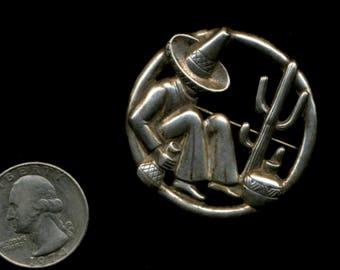 SIESTA MAN Vintage 1960s Sterling MexicAN Pin