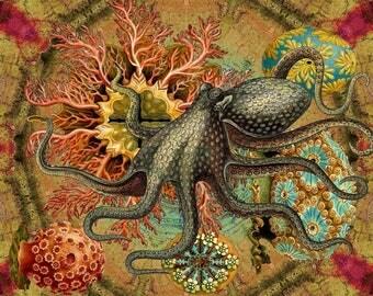 Wondrousstrange Design SILK FABRIC  Swatch Octopus Hackle Ocean Fantasy Yellow Red Teal Blue Grey