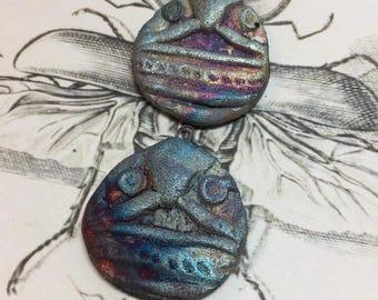 Wondrousstrange Raku Tribal Textured Design Two Small Blue Fuchsia Pendants
