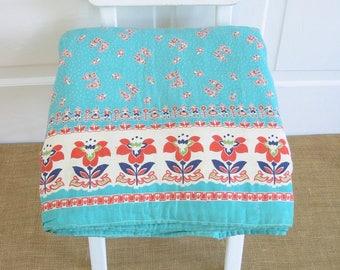 Vintage Bedspread, Floral Quilt, Twin Bedspread Quilt, Double Full Quilt Bedspread, Aqua Bedspread, Shabby Cottage Chic, Orange Aqua Quilt,