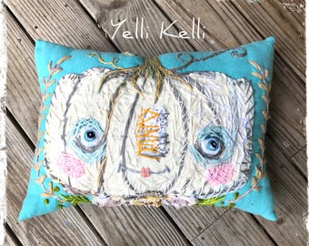 White Pumpkin Mrs. Hepplewhite Fine Art Pillow Hand Embroidered YelliKelli Ready to Ship