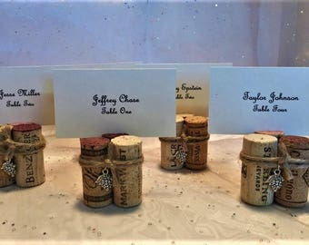 Wine Cork Place Card Table Number Menu Holders Wine Cork Twine Grapes for Wedding Rehearsal Dinner Wine Event Vineyard Dinner Party Favor
