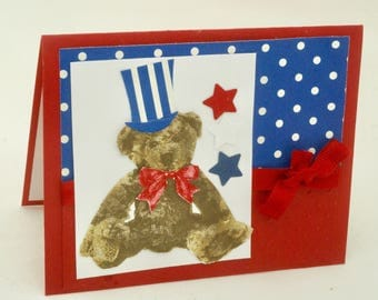 Patriotic Teddy Bear Card, Stars and Stripes. USA Military Baby Shower. Americana Red, White  Blue, Notecard with stars. Thank you note