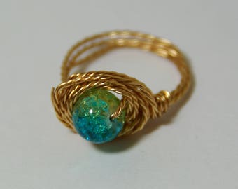 Wire wrapped statement ring