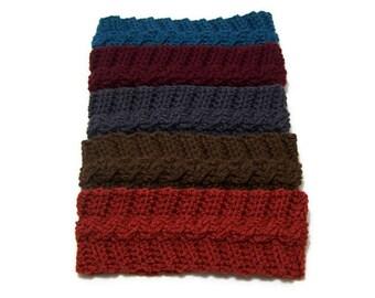 Crochet Ear Warmer - Headband - Women - Aubergine - Brown - Dark Grey - Teal - Terra Cotta - Acrylic