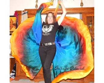 Sahariah's Silk Belly Dance Veils Original Killer Moths 2 8MM Half Circle Veils Silks by Sahariah