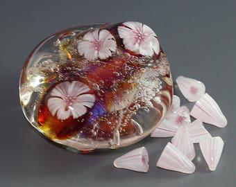 Handmade Lampwork 3D Flower murrini for bead by Ikuyo SRA