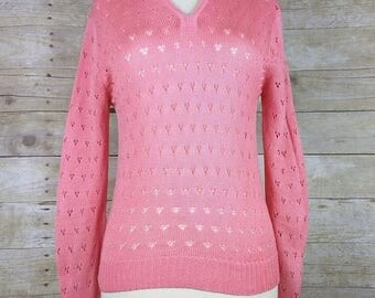 ON SALE Vintage Sears Bright Pink Pointelle Knit Collar Sweater M