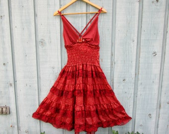 Upcycled Red Silk Beaded Bohemian Tiered Dress// Reconstructed// Small// Summer// emmevielle