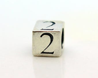 Sterling Silver Number 2 Cube Square Bead 5.5mm Large Hole