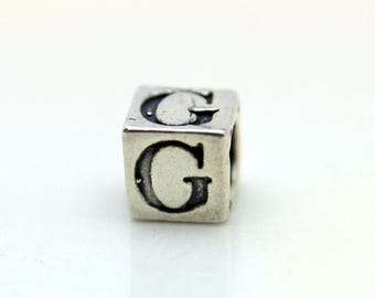 Sterling Silver Alphabet G Block Cube Square Bead 5.5mm Large Hole