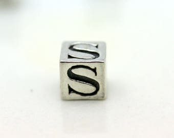 Sterling Silver Alphabet S Block Cube Square Bead 5.5mm Large Hole