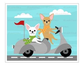 348D Dog Print - Two Chihuahua Dogs in Vespa Wall Art - Vespa Print - White Chihuahua Drawing - Vespa Illustration - Cute Chihuahua Print