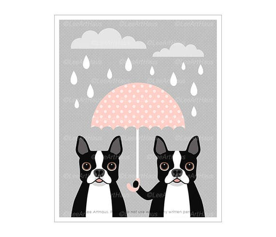 70F Dog Prints - Two Boston Terriers with Pink Umbrella Wall Art - Funny Dog Art - Pink and Gray Nursery Art - Boston Terrier Art - Girls