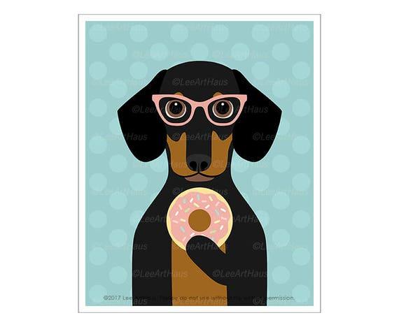 242D Pet Portrait - Black and Tan Dachshund Eating Donut Wall Art - Pink Donut Print - Dachshund Puppy Print - Dessert Wall Art - Dog Art
