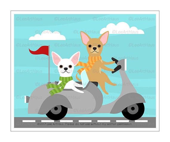 348D Dog Print - Two Chihuahua Dogs in Vespa Wall Art - Vespa Print - White Chihuahua Drawing - Vespa Illustration - Cute Chihuahua Print