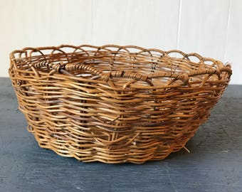 woven bamboo basket - round brown wicker bowl - boho wall decor