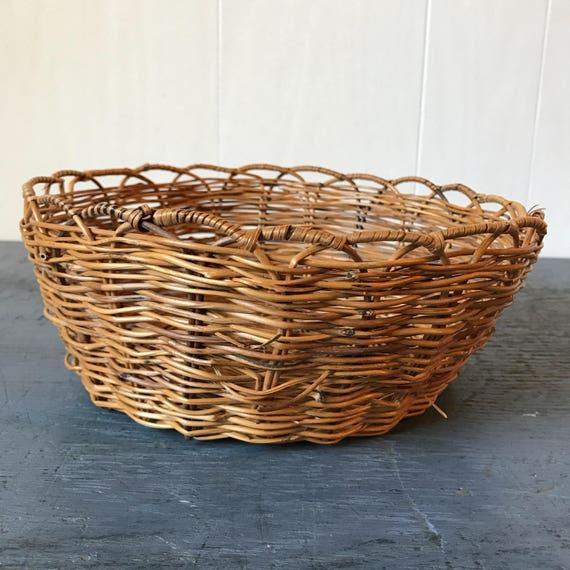 woven bamboo basket - round brown wicker bowl - boho wall decor