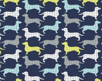Dark Blue Dachshunds Tooth Dogs - Jackie Collection - Camelot Fabrics 4142301-2 - You choose the Length