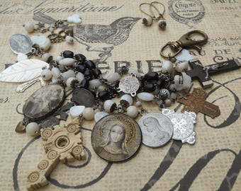Losing My Religion Antique Rosary and Vintage Medals Bracelet