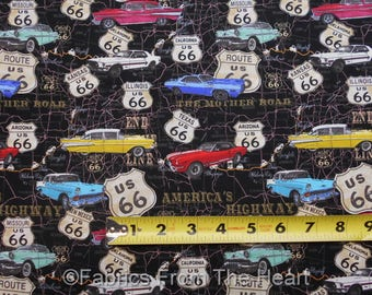 Route 66 American Dream Highway Classic Cars  Maps BY YARDS Blank Cotton Fabric