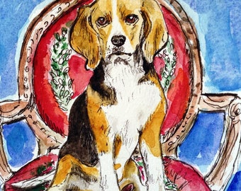 Beagle on a Red Chair, Hand Painted Card, Original Watercolor Card, Dog Artwork, Beagle Gift, Card to Frame, Dog Portrait, Watercolour Art